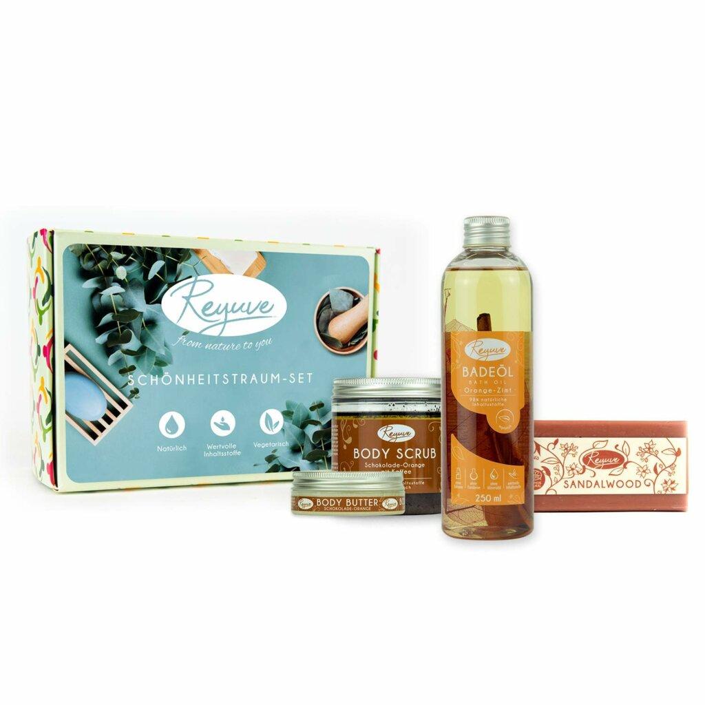 Reyuve Naturkosmetik Wellness Set Badeöl Body Butter Seife Body Scrub