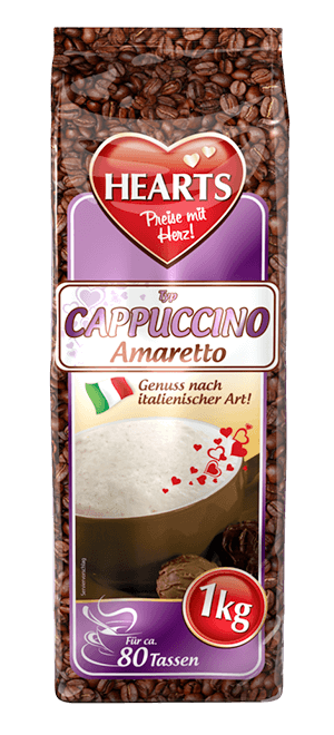 HEARTS, Cappuccino, Amaretto, Instant, italienischer Genuss